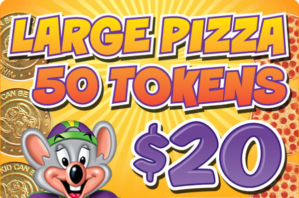 LARGE PIZZA 50 TOKENS $20